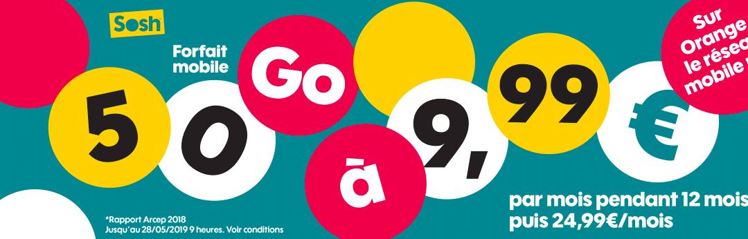 Le forfait mobile Sosh 50 Go est en promotion à 9,99€ !