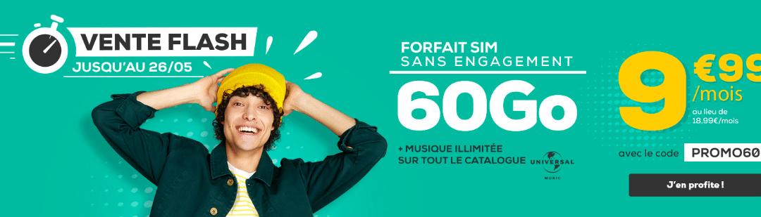 Vente flash La poste mobile : Le forfait 60 Go à 9,99€