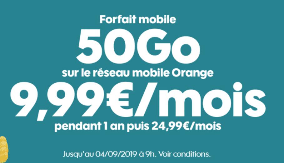 PROLONGATION : Forfait Sosh 50Go pour 9,99€/mois jusqu'au 04/09