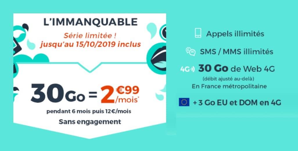 Forfait IMMANQUABLE Cdiscount mobile : 30Go pour seulement 2,99€/mois