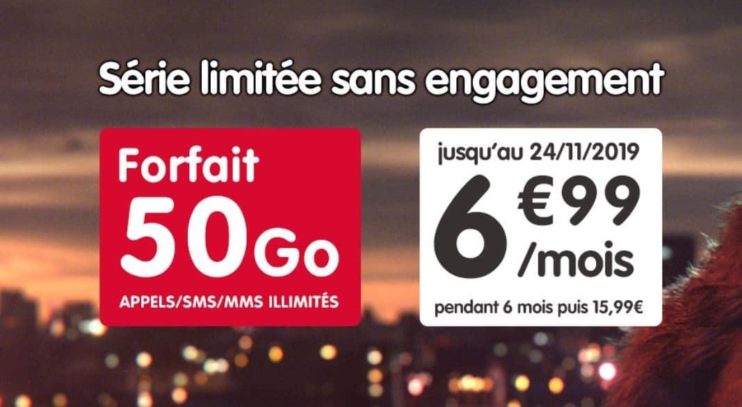 Forfait NRJ mobile 50 gigas en promo à 6,99€ par mois