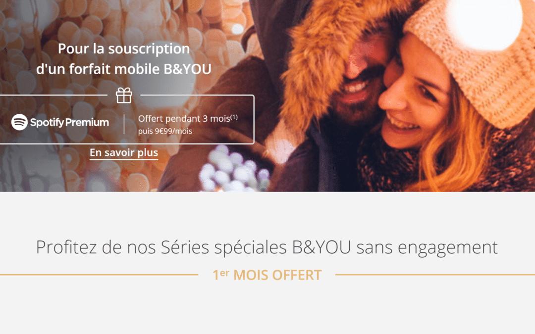 Forfaits mobile B&You : 1 mois d'abonnement et 3 mois de Spotify offerts