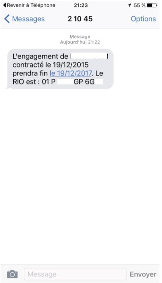 code rio reçu par sms