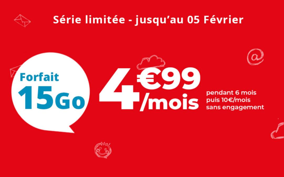 Le forfait 15 Go Auchan telecom est en promotion à  seulement 4,99€ par mois