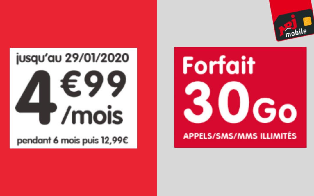Forfait Nrj mobile à 4.99€/mois pour 30go de data