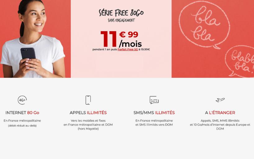 Le forfait Free 60 Go à 9.99€/mois pendant une durée limitée