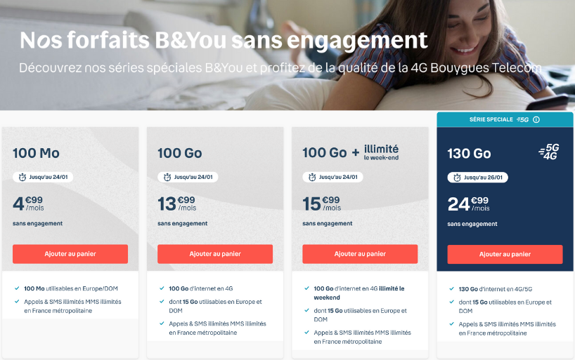 Nouvelles séries spéciales B&You 100 Go dès 13,99€ par mois à vie !