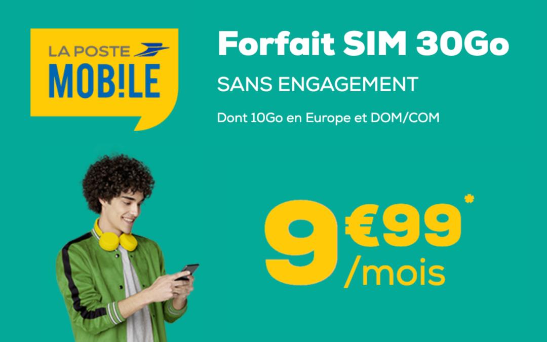 Le forfait pas cher La Poste Mobile 30 Go est de retour à seulement 10,99€ par mois !