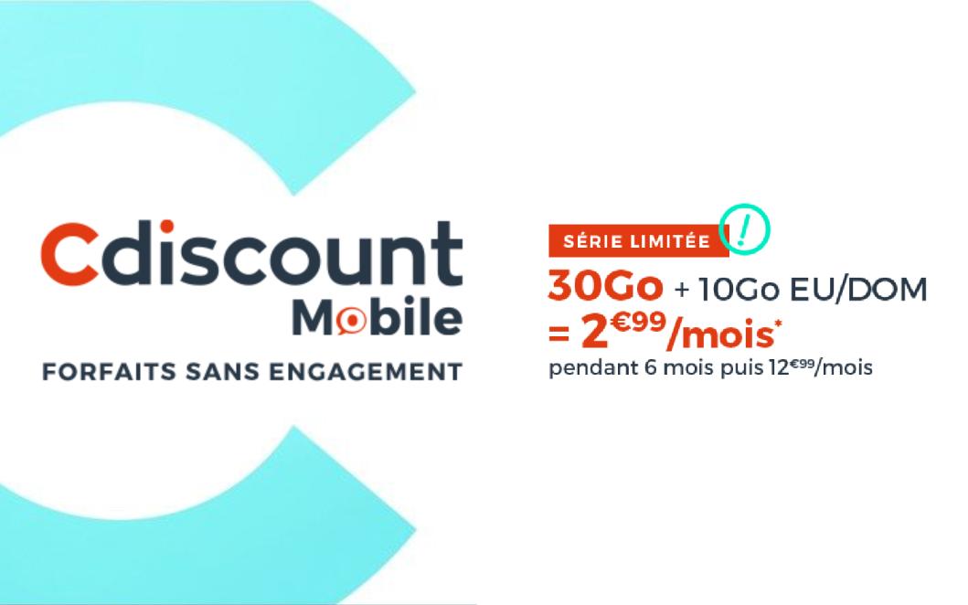 Le forfait Cdiscount mobile 30 gigas pour 2,99 euros par mois