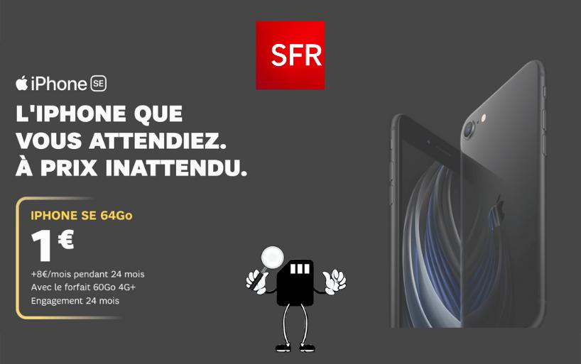 vente flash iphone se 2 2020 à 1€ chez sfr
