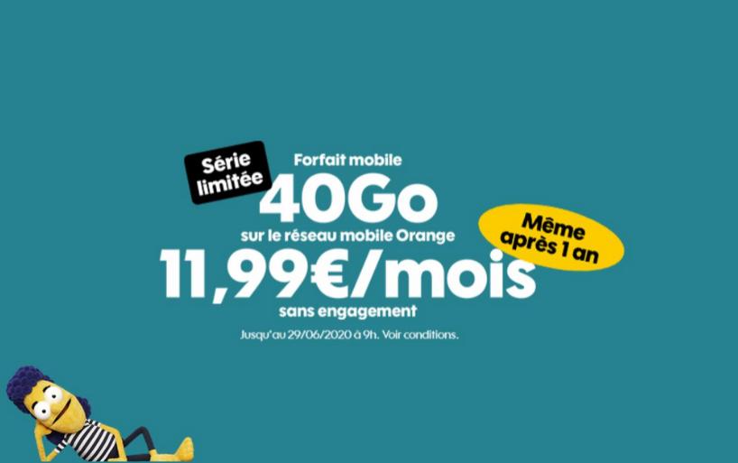 Nouvelle promo forfait Sosh 40 Go à 11,99€ par mois