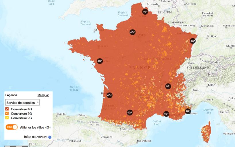 Carte du taux de couverture sur le territoire français chez Orange