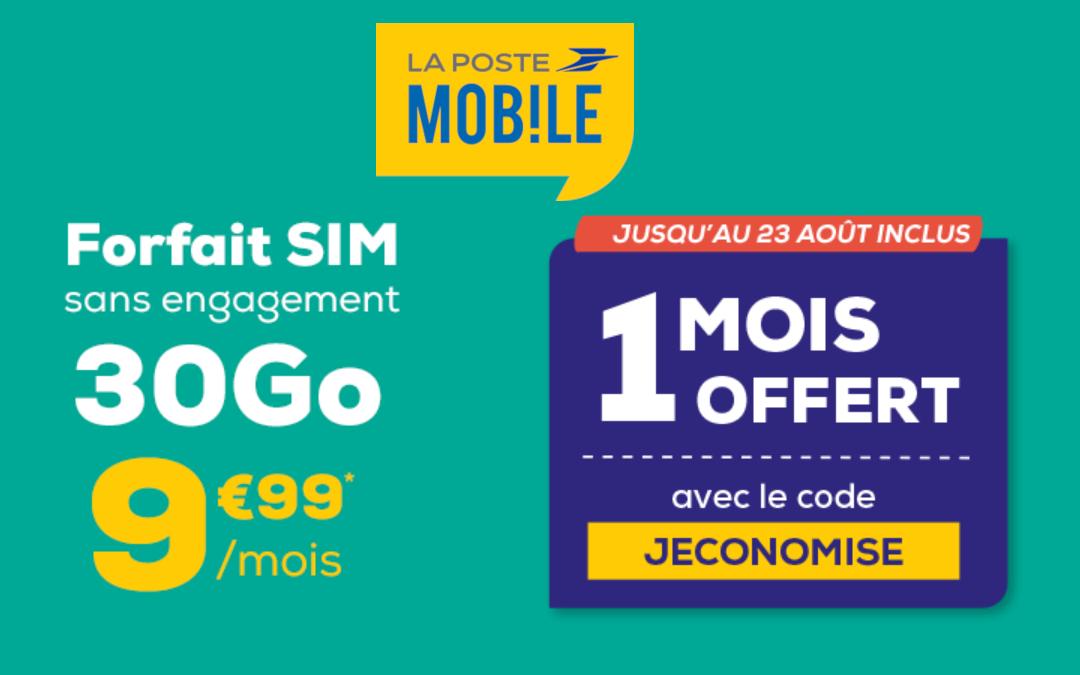 Le forfait la poste mobile 30 gigas à 9,99 euros par mois
