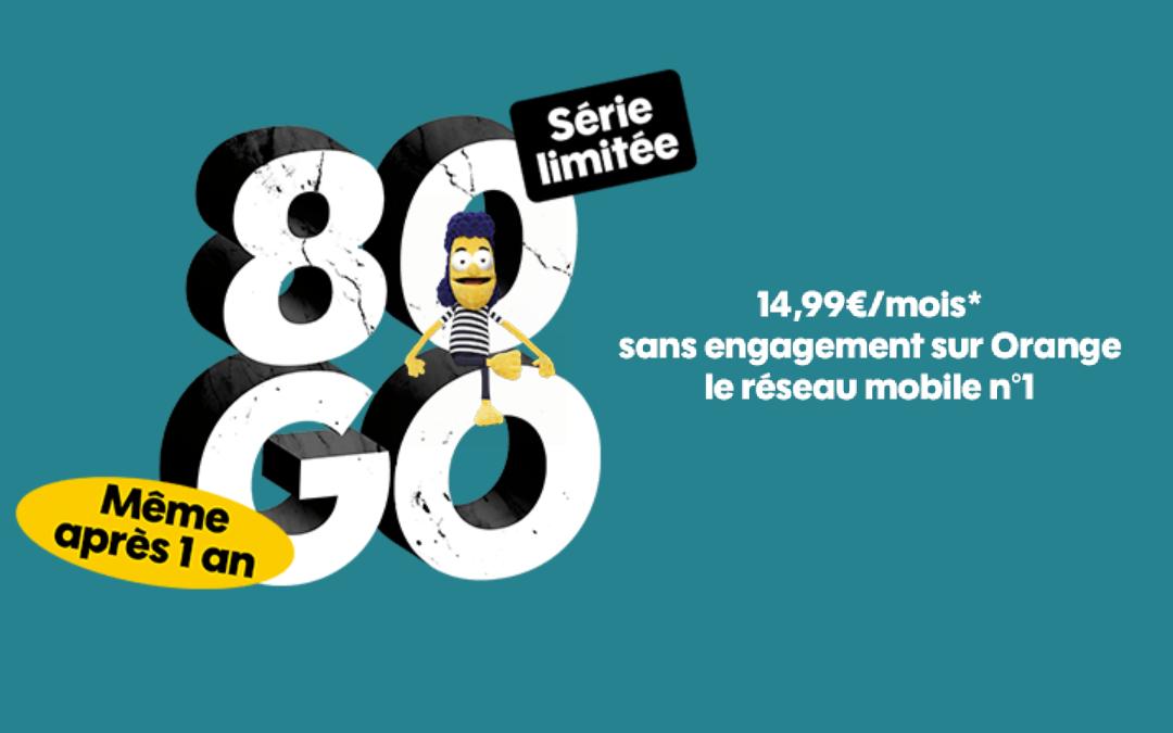 Les offres Sosh mobile : 80 Go pour 14,99€ par mois