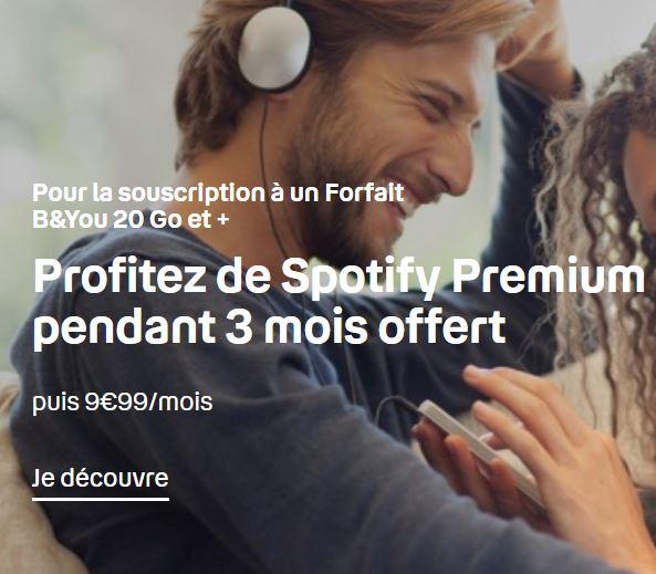 3 mois de Spotify Premium offert avec les forfaits B&You