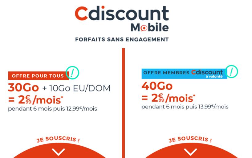 Les forfaits Cdiscount en promo sont de retour avec 30 Go pour 2,99€ par mois seulement