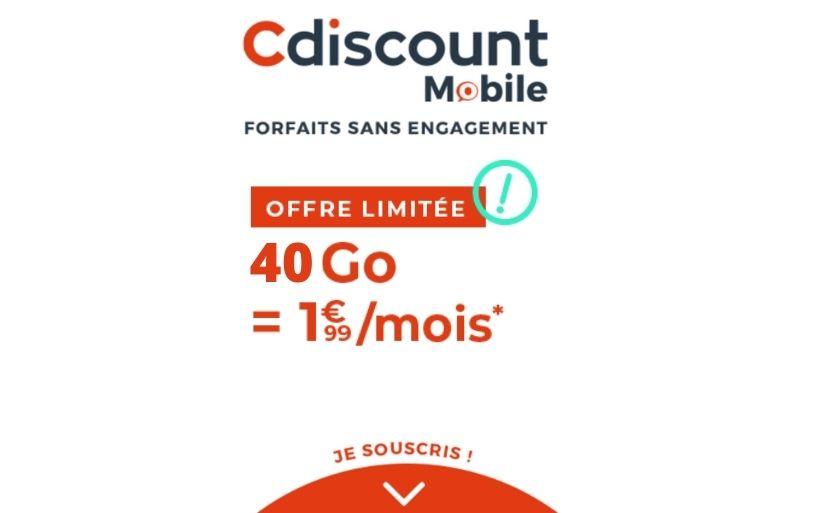 La Vente Privée forfait mobile de Cdiscount à débutée : 1,99€ le forfait 40 Go