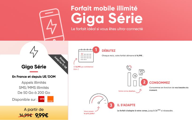 Nouvelle Giga Série Prixtel : 50 Go à partir de 9,99€ au lieu de 14,99€ par mois