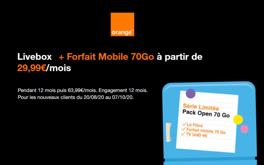 Le Pack Open Orange 70 gigas à 29,99 euros par mois