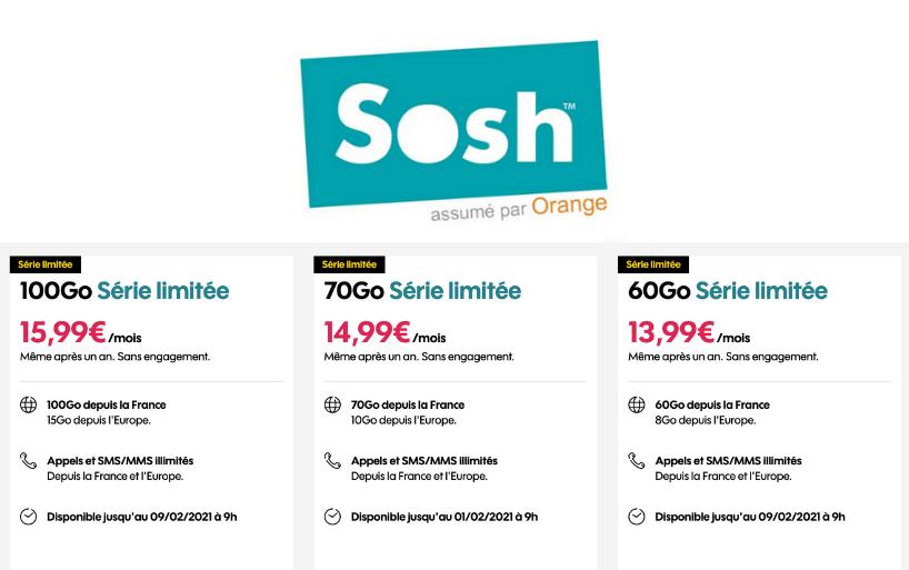 Les promotion sur les forfaits mobile Sosh 20 Go et 50 Go sont prolongées