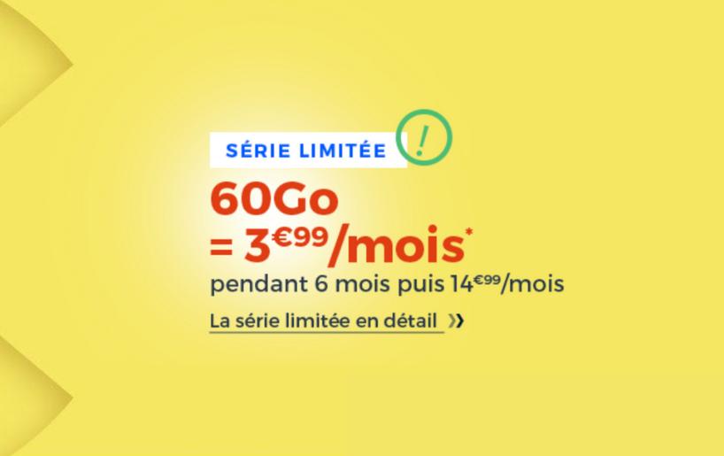 Nouvelle Série Limitée 60 Go Cdiscount Mobile en promotion à seulement 3,99€ par mois