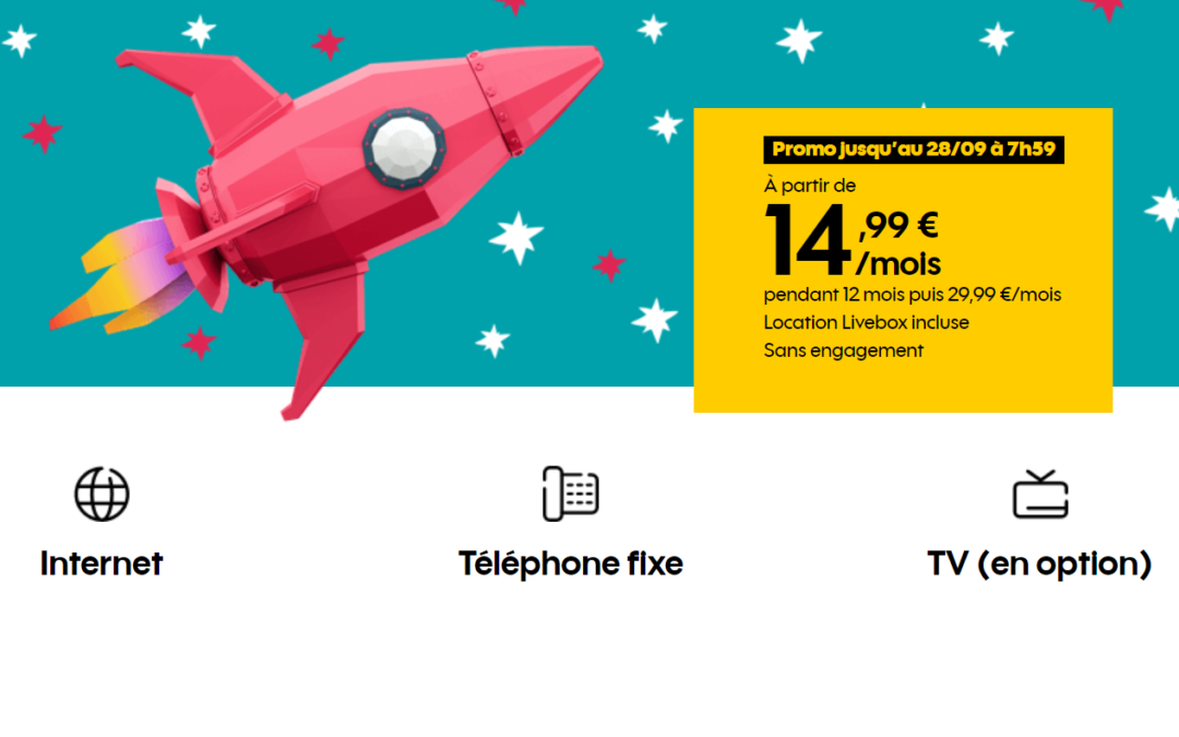 La boite Sosh fibre ou ADSL à 14,99 euros par mois