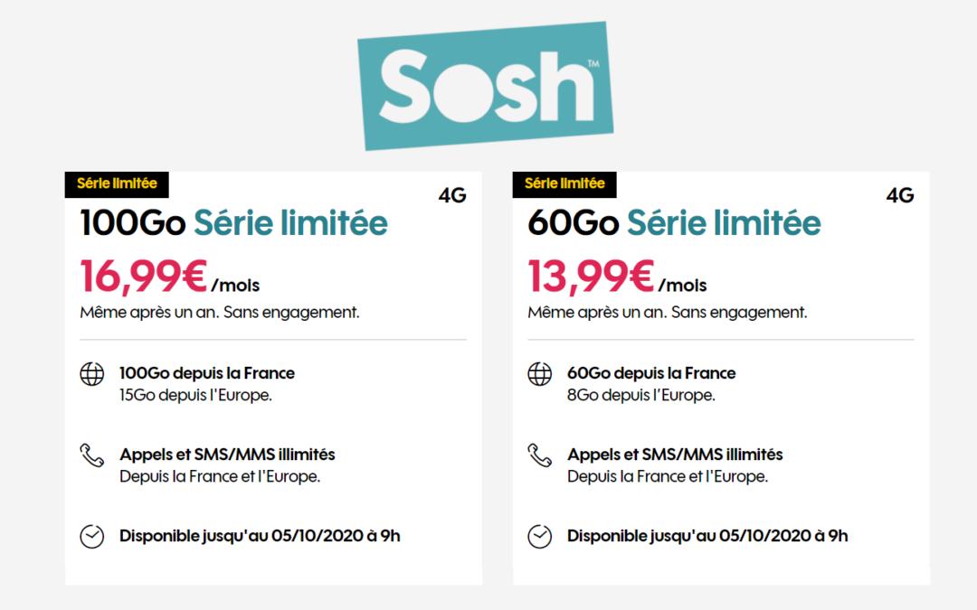 Les promos Sosh mobile 60 gigas et 100 gigas