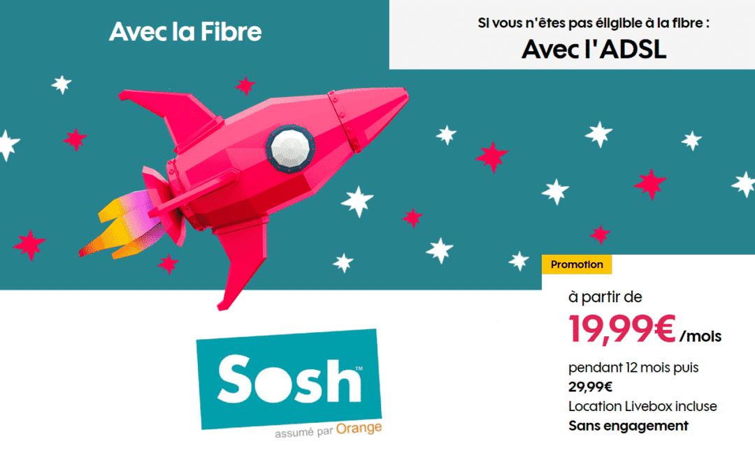 La box Sosh fibre en promo à 19,99€ par mois