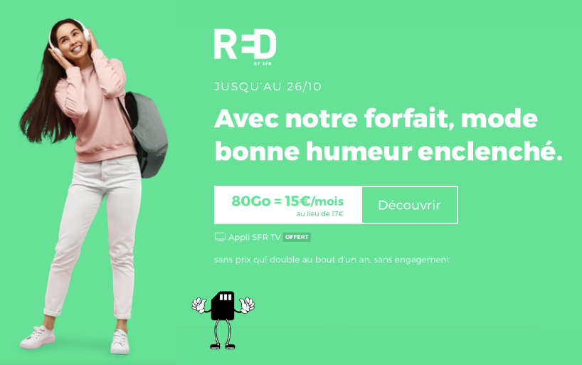 L'offre mobile RED by SFR 80 Go passe à 15€/mois