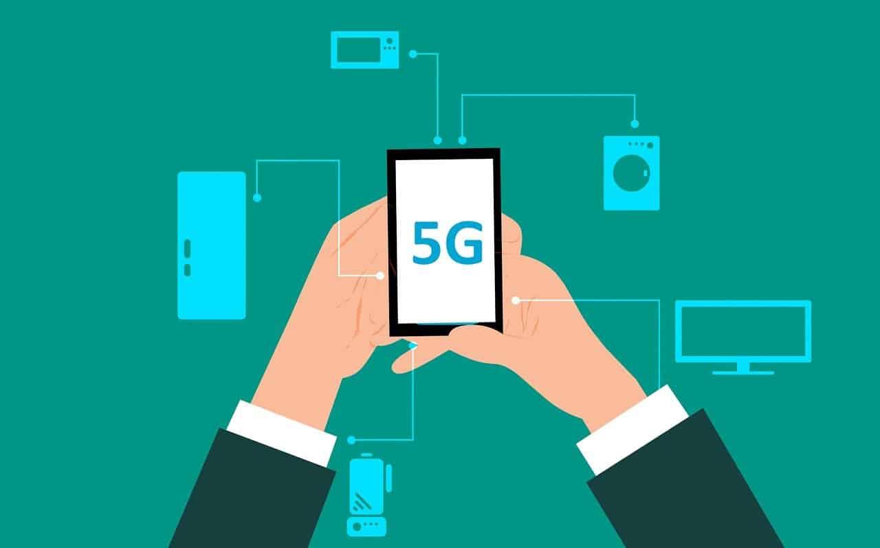 un smartphone connecté en 5G