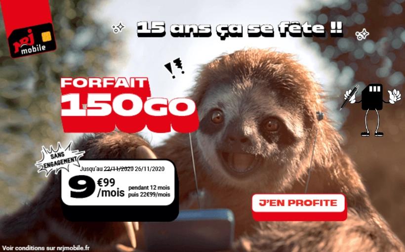 Prolongation du forfait NRJ mobile 150 gigas à 9,99€ par mois