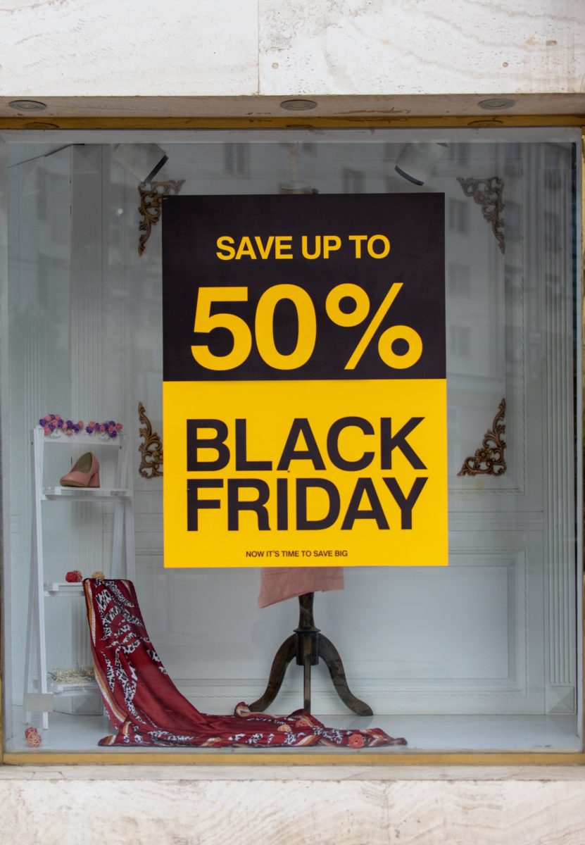 black friday text on red garment background