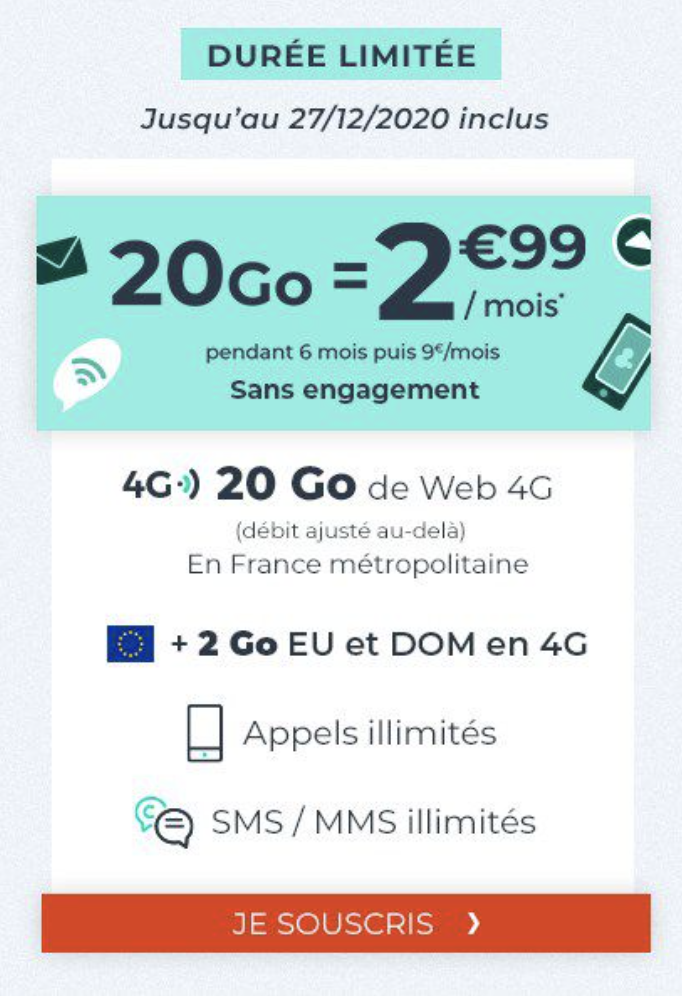 Offre cdiscount mobile 20 go