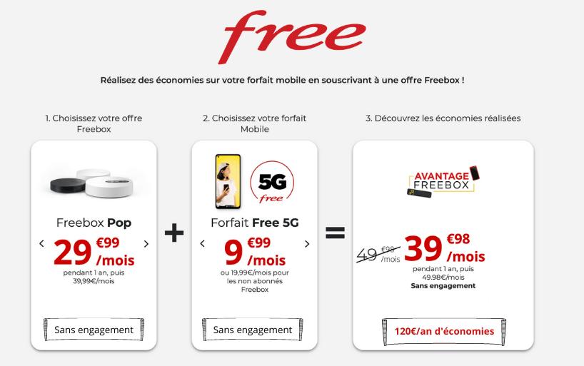 Grâce à l'offre Freebox Pop profitez de -50% sur le forfait mobile Free 5G !