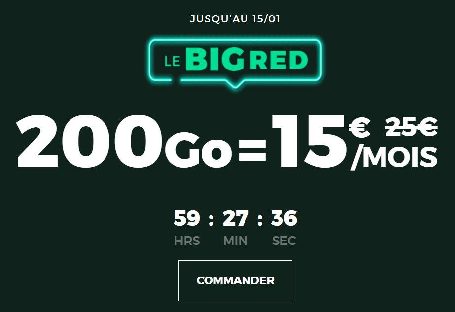 forfait 4G 200 go de RED