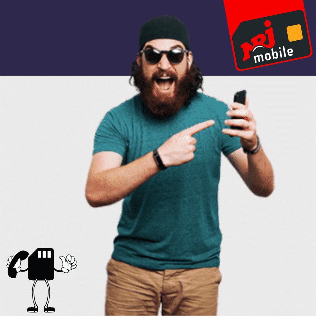 Un homme impressionné par le forfait NRJ Mobile 50 Go