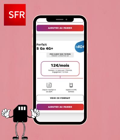 un smartphone qui affiche le forfait sfr 5 go