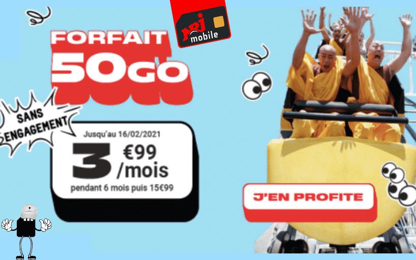 Forfait NRJ 50 Go à 3.99€/mois pendant 6 mois et sans engagement