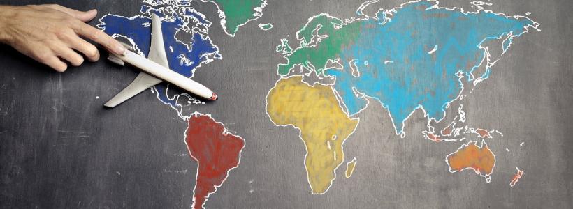 illustration map monde et avion
