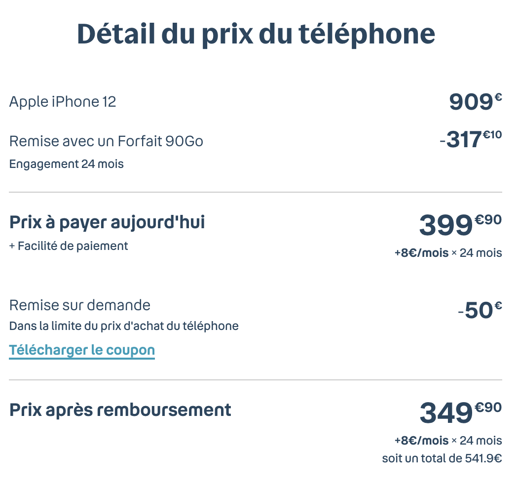 détail du prix iphone 12