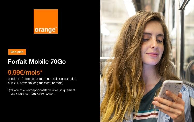 Le forfait orange 70 go à 9,99€ par mois