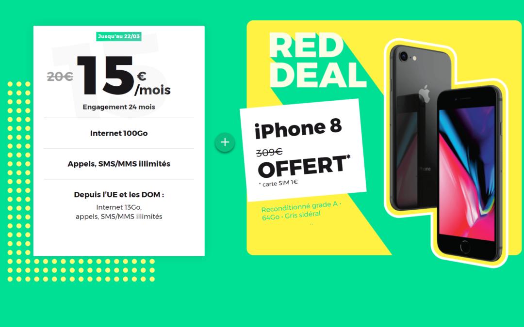L'IPhone 8 est offert avec le forfait RED 100 Go à 15€/mois lors du RED Deal