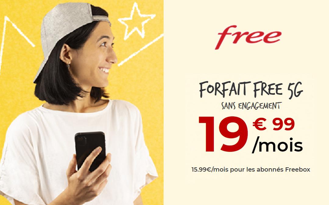Le forfait Free à 19,99 euros par mois avec 150 Go de data en 5G