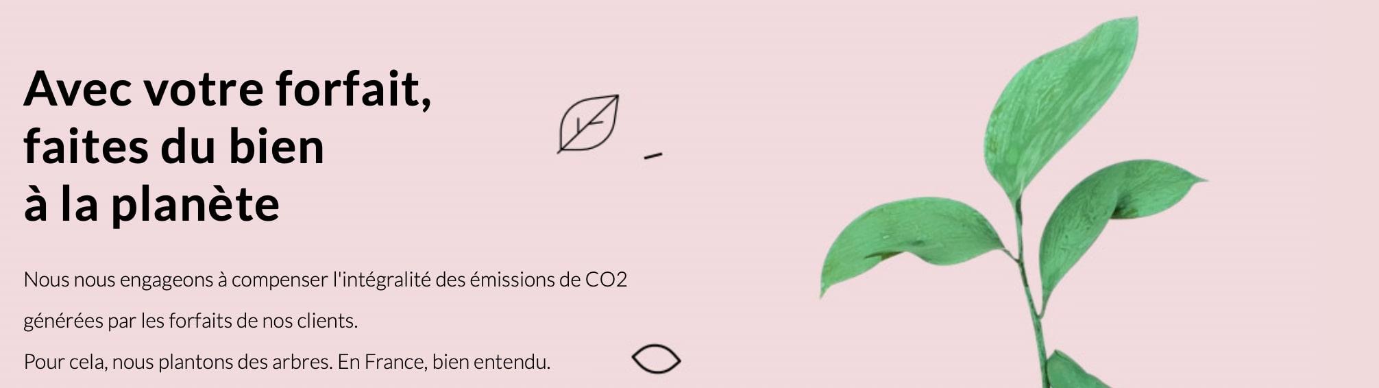 Compensation CO2 avec le forfait 100 Go Prixtel