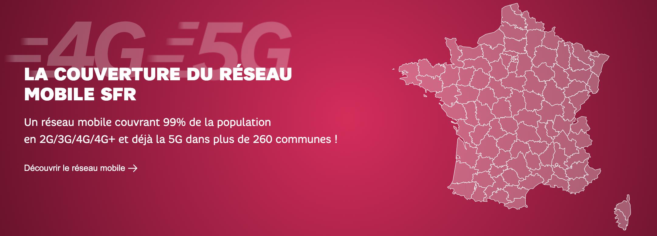 Le réseau 4G et 5G de sfr