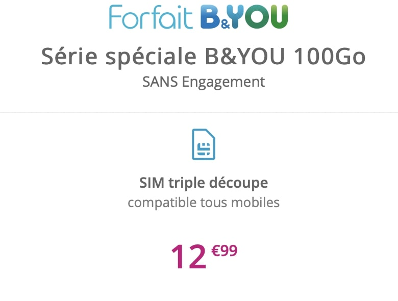 le forfait mobile pas cher B&You 100 Go