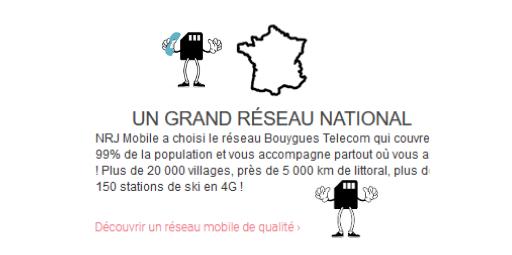 texte expliquant que NRJ mobile utilise le réseau 4G de Bouygues Telecom