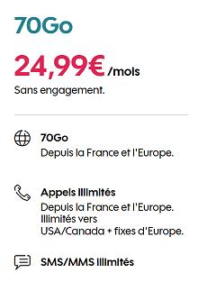 Forfait Sosh 70 Go sans engagement à 24,99€