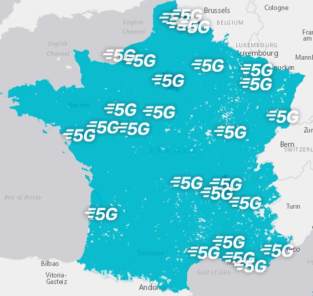Carte de France avec la représentation du réseau 5G de Bouygues Télécom
