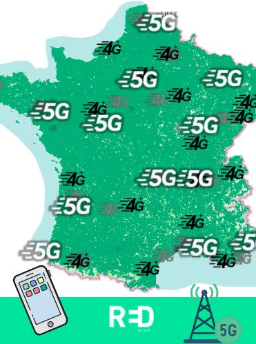 Carte représentant le réseau 5G de RED by SFR